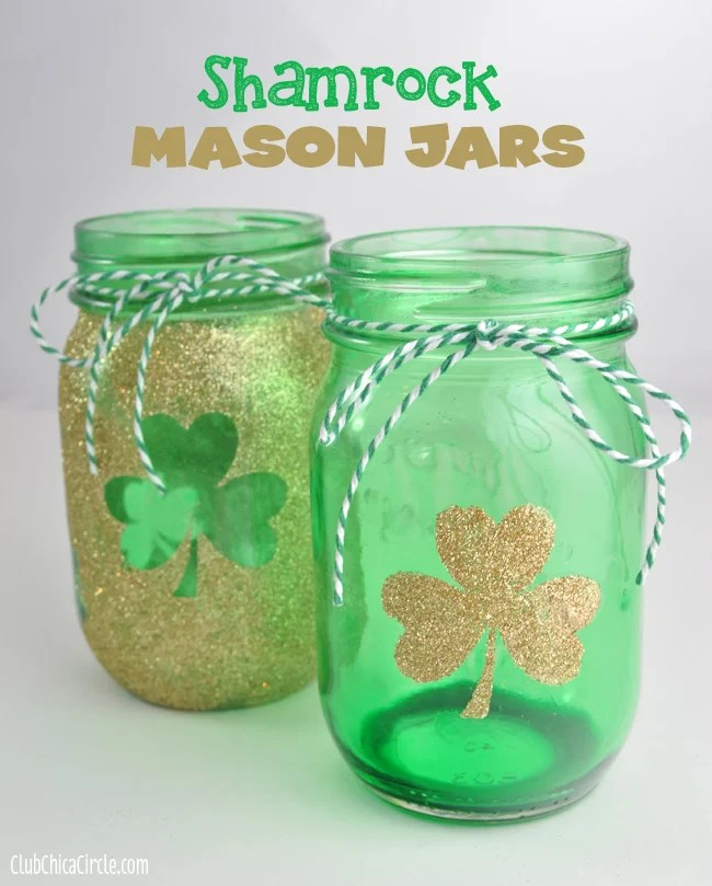 Shamrock Gold and Green Tinted Mason Jars St. Pattys Day1