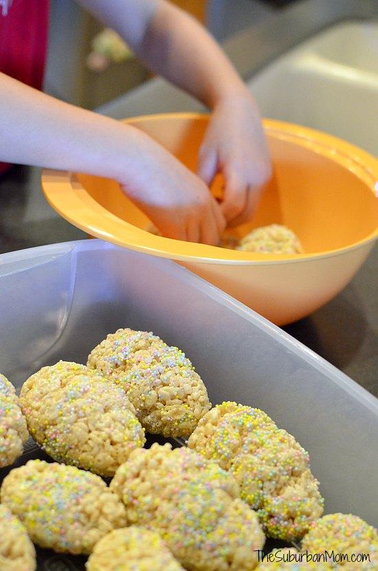 Making Easter Egg Rice Krispie Treats