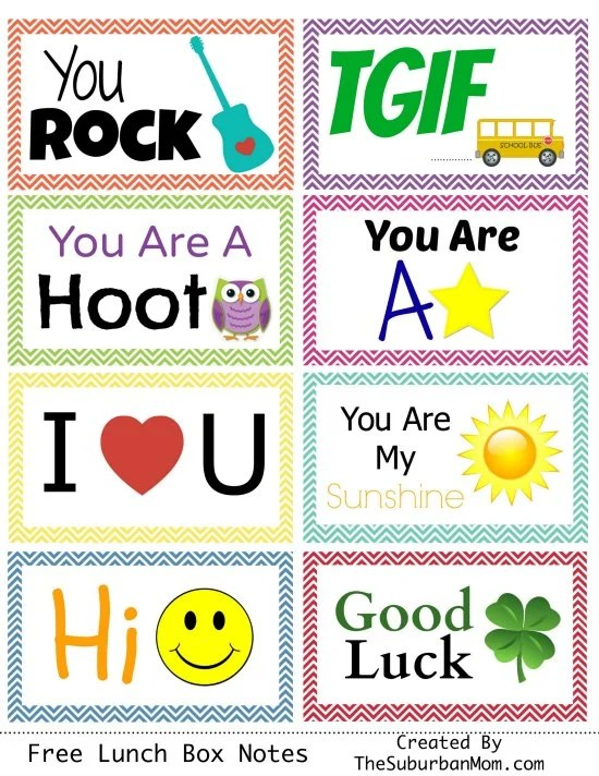 Free Lunch Box Notes Printables