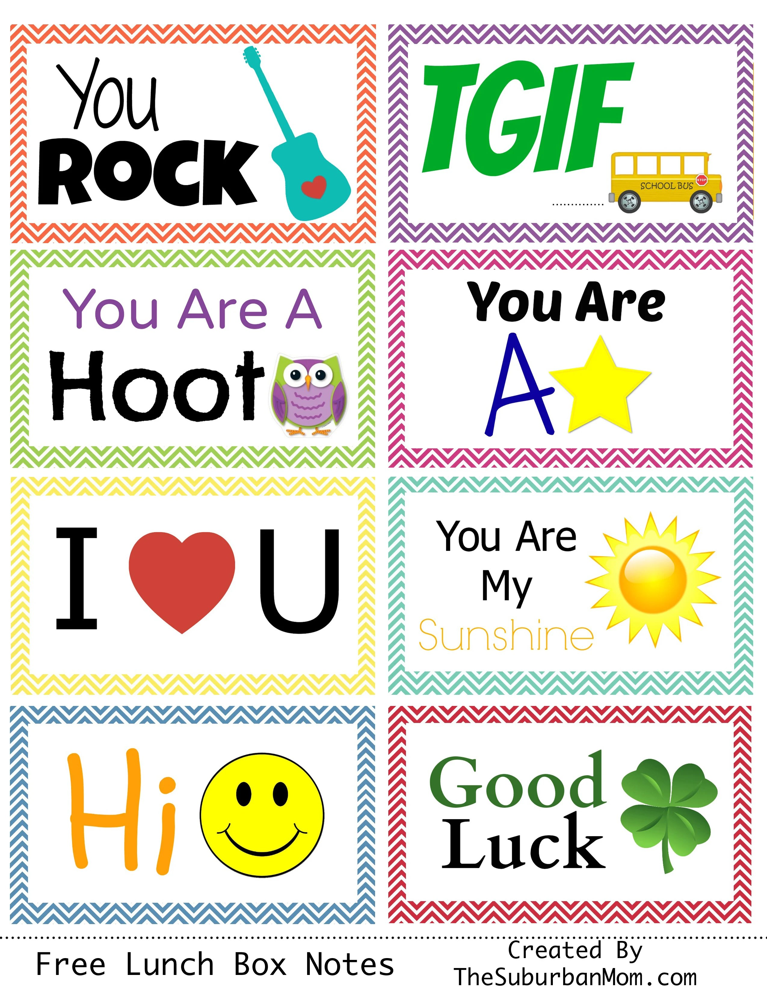 Back To School Free Printable Lunch Box Notes