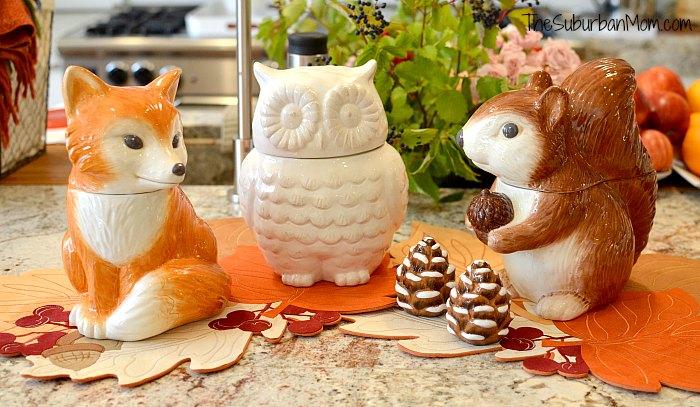 Better Homes Gardens Owl Fox Squirrel Cookie Jar