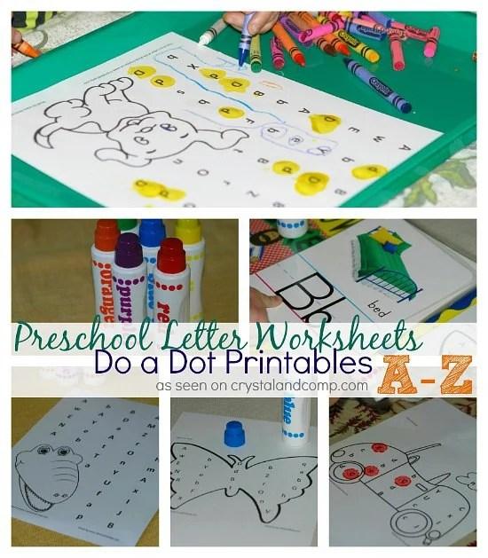 Preschool Letter Worksheets Do-A-Dot Printables A-Z