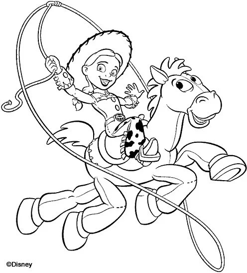 Toy Story Coloring Page Jessie Bullseye