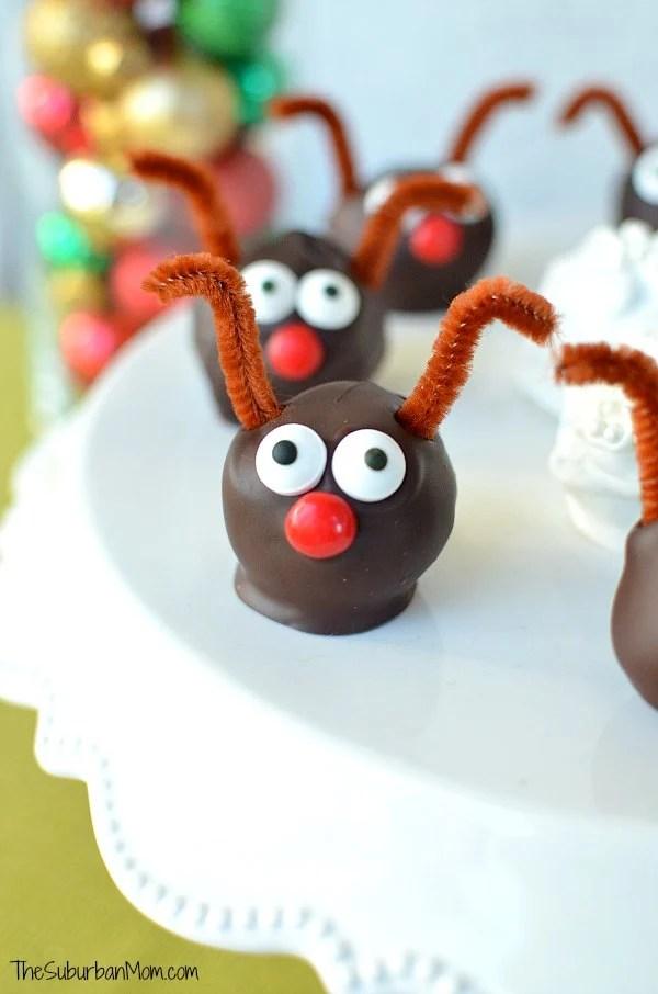 Peppermint Oreo Cookie Balls Rudolph