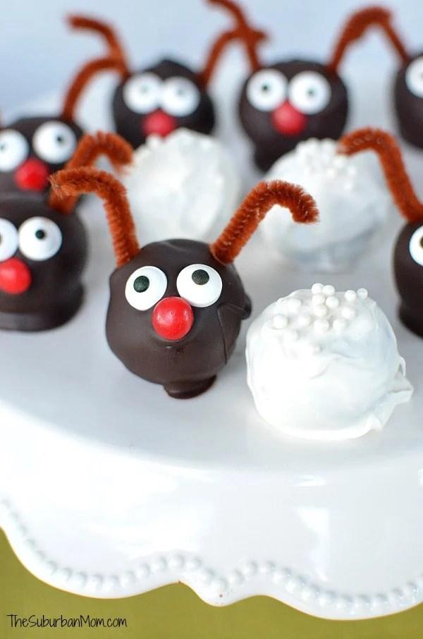 Reindeer Oreo Cookie Balls Snowball