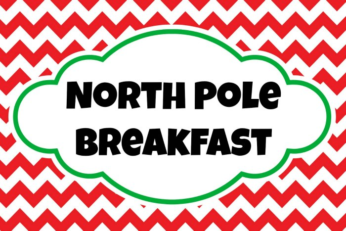 North Pole Breakfast Printable Sign
