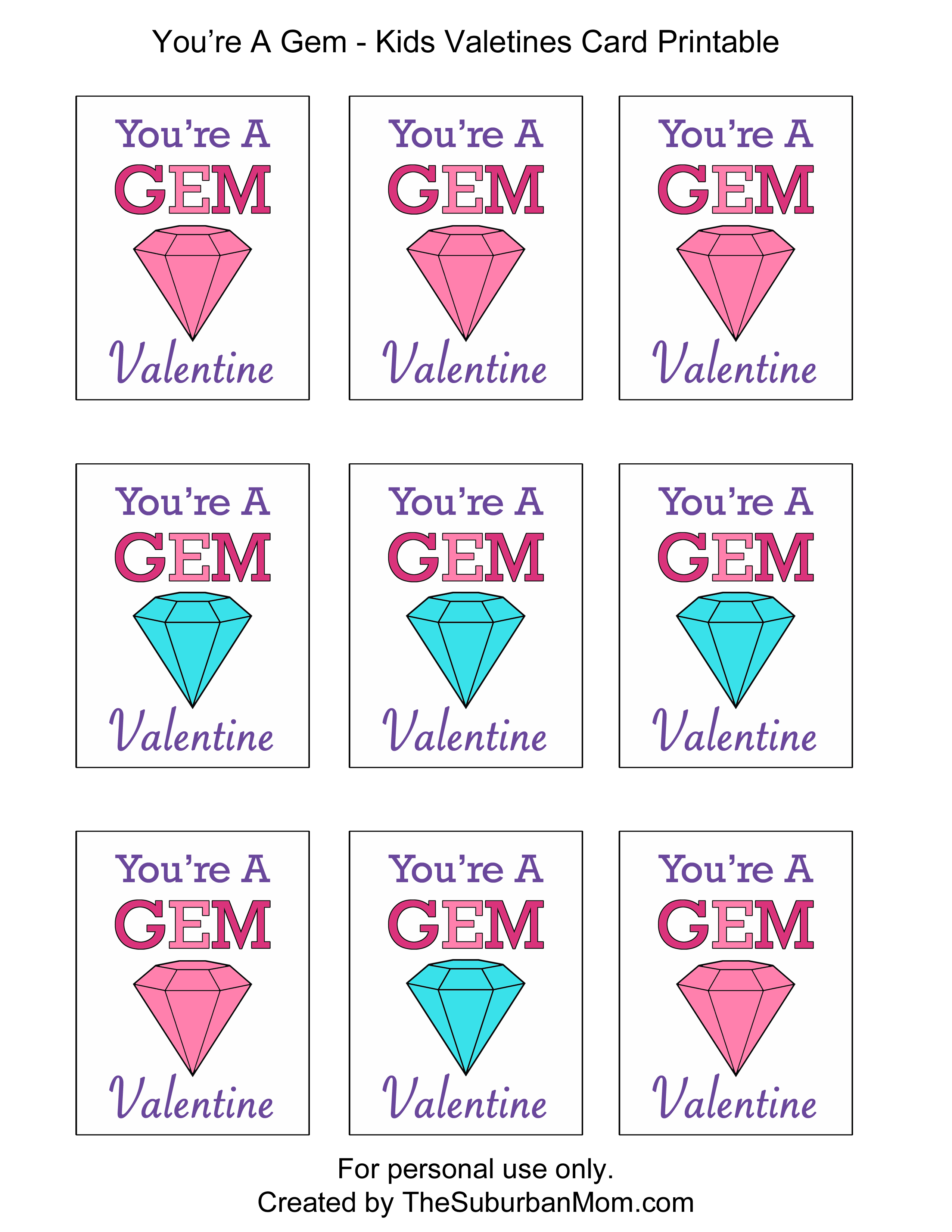 Kids Valentines Cards You Re A Gem Free Printable