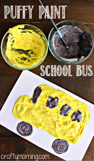 Puffy Paint School Bus Kids Craft