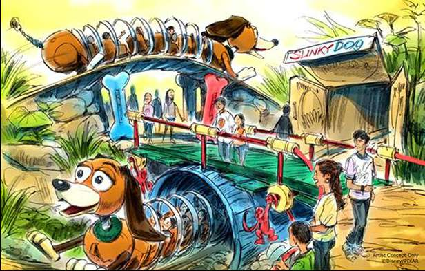 Slinky Dog Family Coaster Rendering