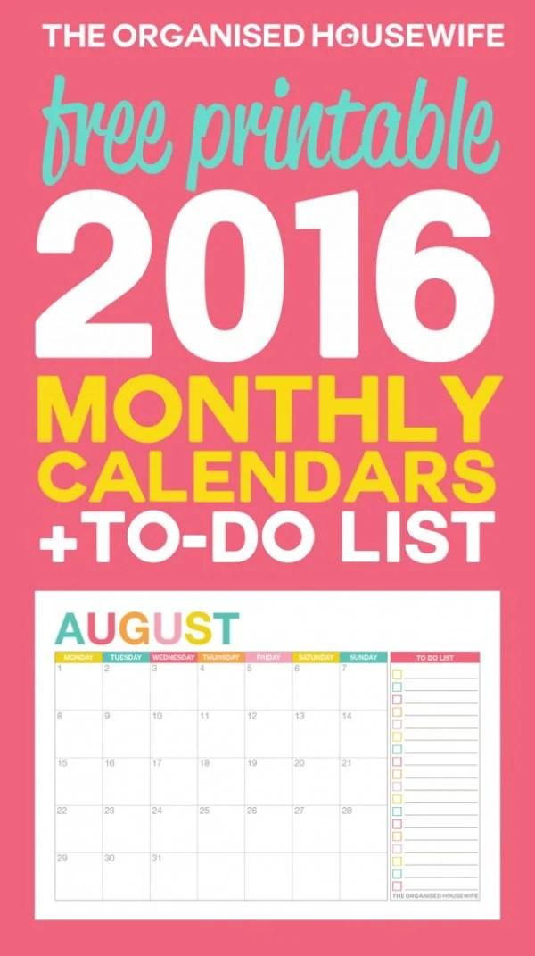 Free 2016 Monthly Calendar Printable