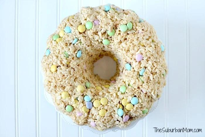 M&Ms Rice Krispies Treat Cake