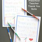 Traceable Preschool Teacher Thank You Note ~ Free Printable