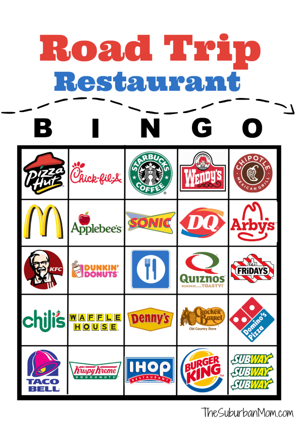 image about Road Trip Bingo Printable named Street Family vacation Cafe Bingo No cost Printable - The Suburban Mother