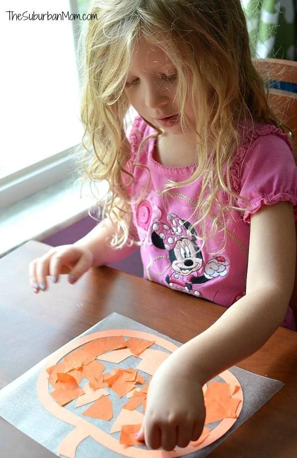 Kids Pumpkin Sun Catcher