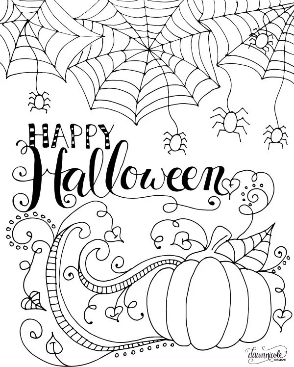 Happy Halloween Adult Coloring Page