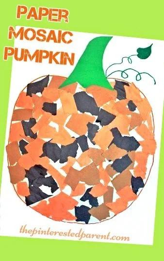 Paper Mosaic Pumpkin Craft fun fall autumn crafts for kids Halloween activities arts and crafts - Kindergarten Halloween Art
