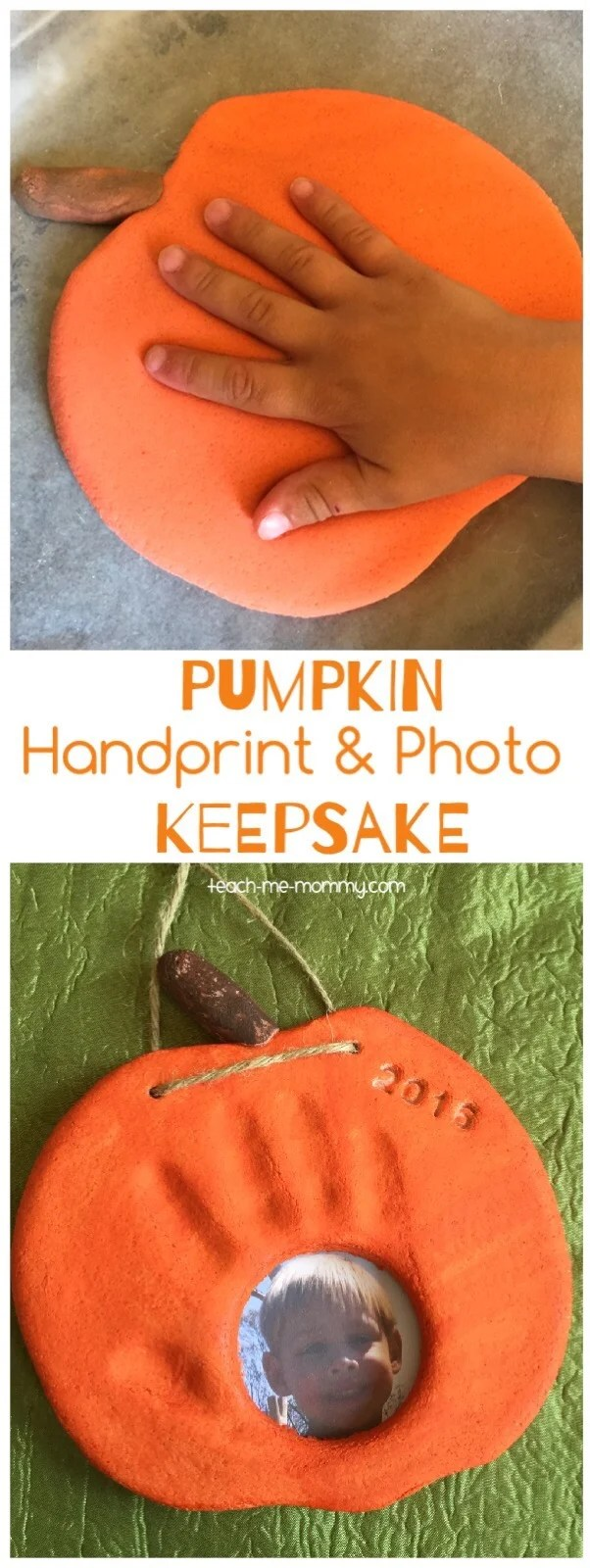 Salt Dough Pumpkin Handprint