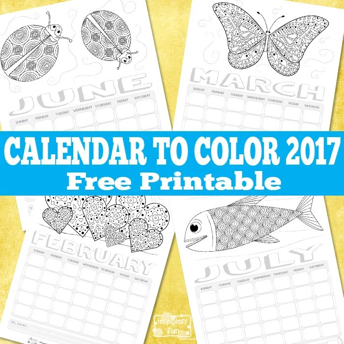 2017 Coloring Page Calendar Printable
