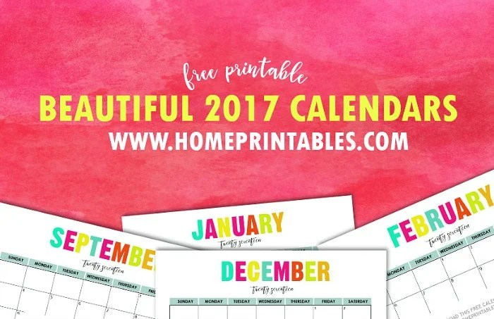 Colorful Free Printable 2017 Calendar