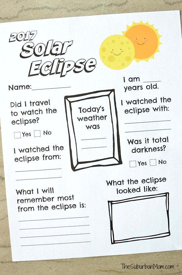 graphic regarding Printable Solar Eclipse Glasses referred to as 2017 Sunlight Eclipse Worksheet Printable - The Suburban Mother