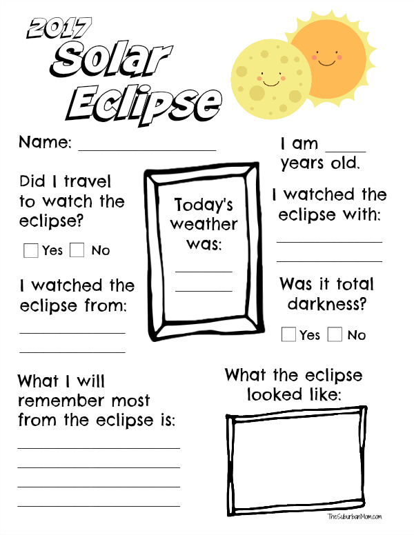 Solar Eclipse Worksheet Printable