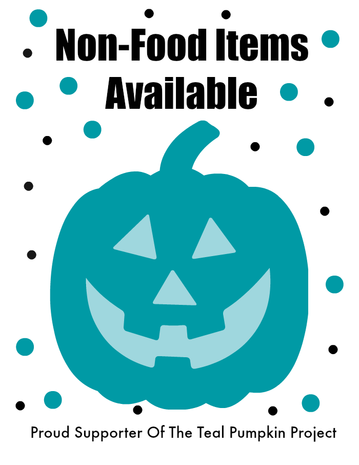 graphic relating to Teal Pumpkin Printable named Teal Pumpkin Venture Printable Indication And Non-Food items Address Strategies