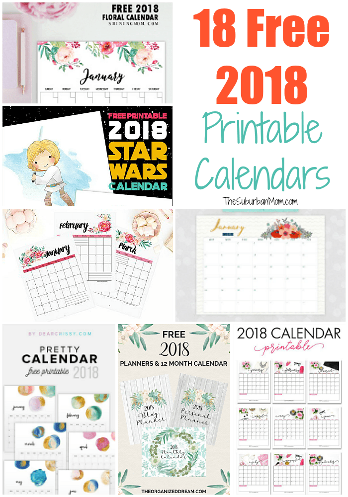 graphic relating to Calendars Printable called Cost-free 2018 Calendar Printable For Obtain - The Suburban Mother