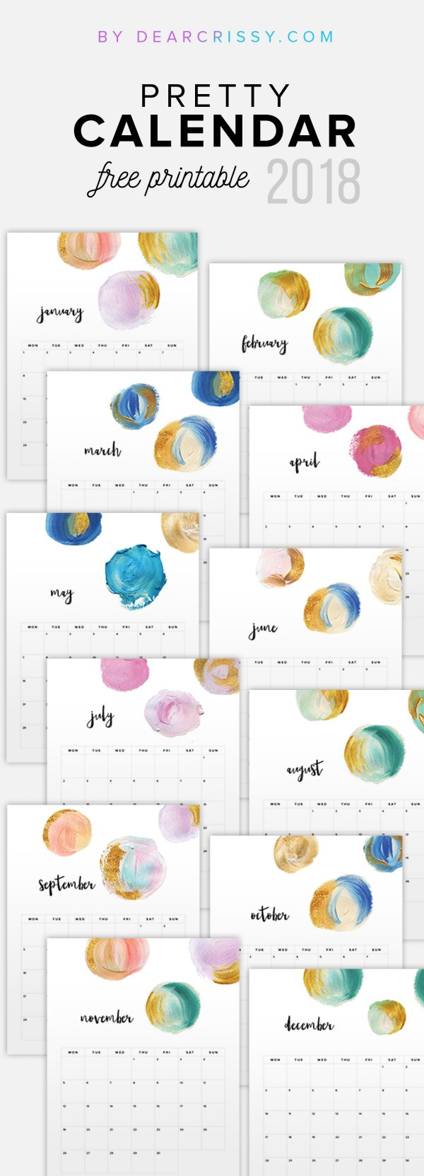 photo about Pretty Calendars named Free of charge 2018 Calendar Printable For Down load - The Suburban Mother