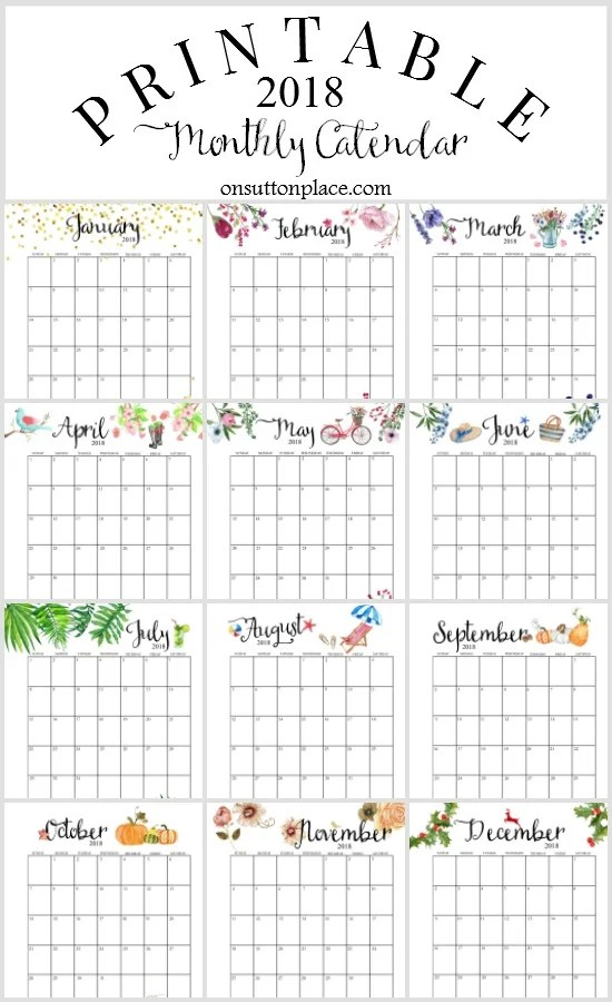 photo relating to Monthly Calendar Printable called Totally free 2018 Calendar Printable For Down load - The Suburban Mother