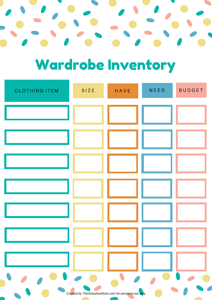 Kids Wardrobe Inventory Printable