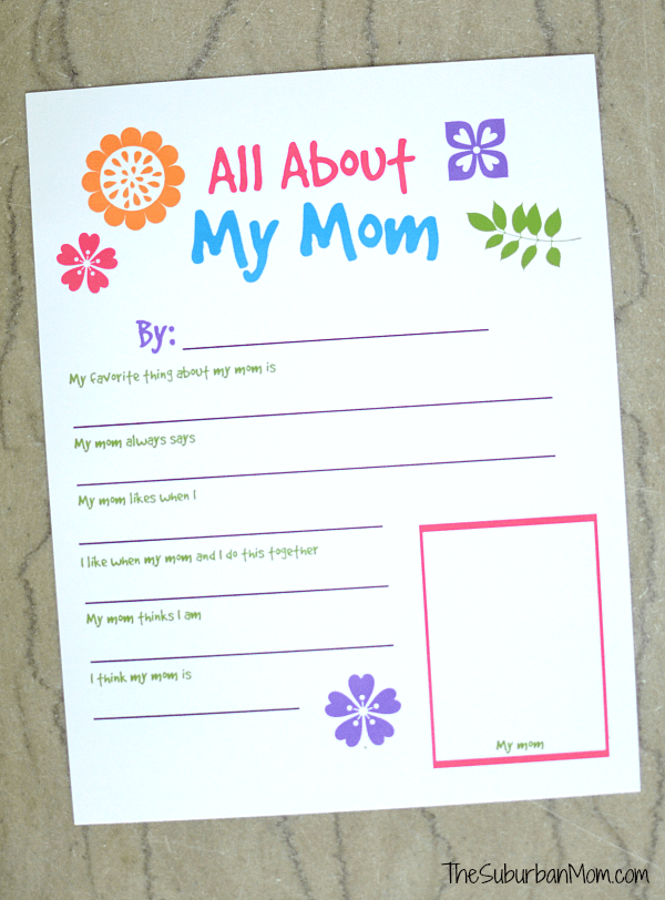 photograph about All About Mom Printable referred to as All Around My Mother Printable Worksheet For Moms Working day