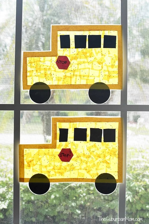 School Bus Sun Catcher - Back To School Craft - The Suburban Mom