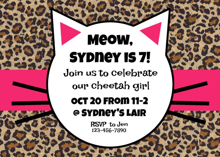 Cheetah Birthday Party Invitation