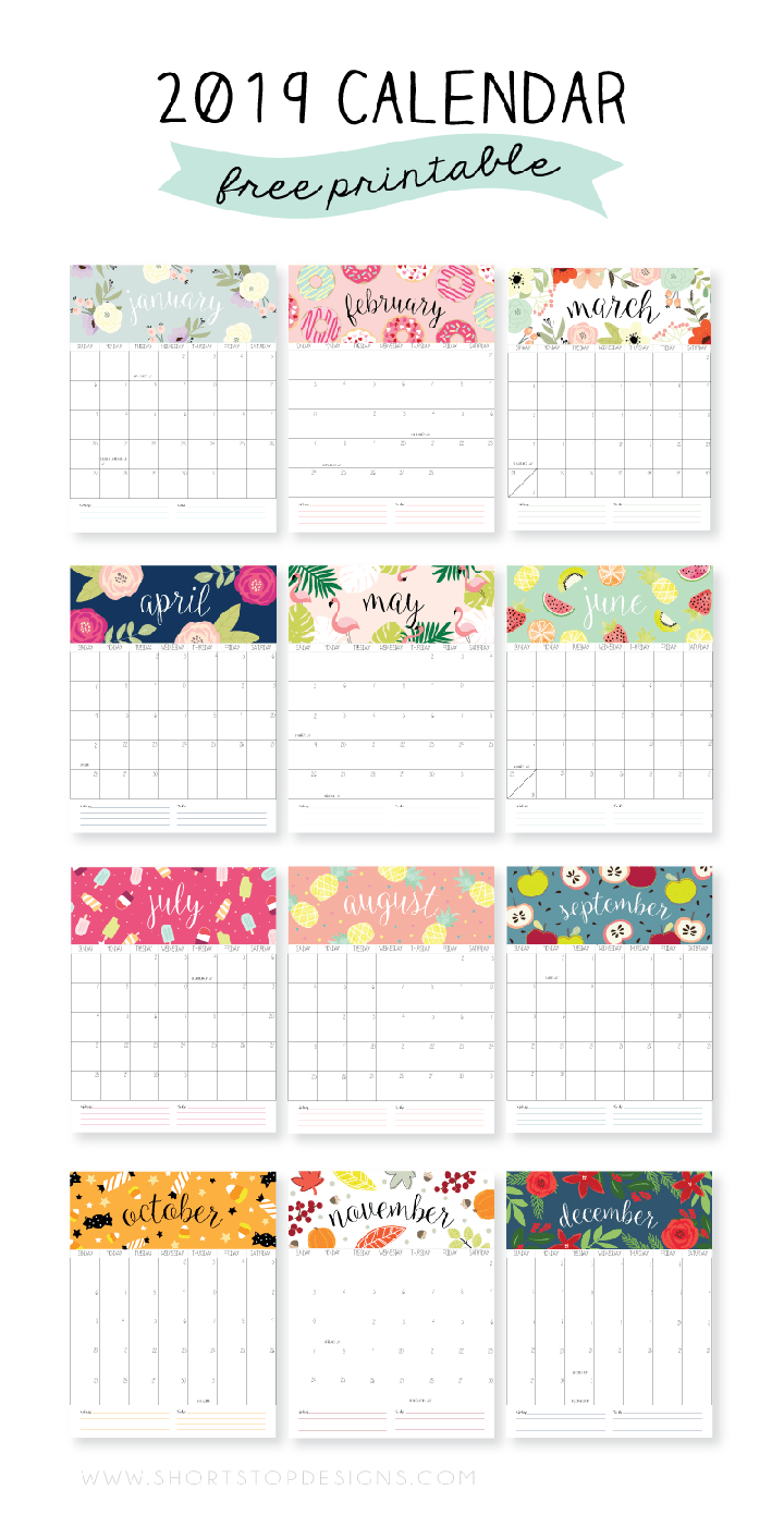 graphic about Printable Calendar Free identified as 19 No cost Printable 2019 Calendars - The Suburban Mother