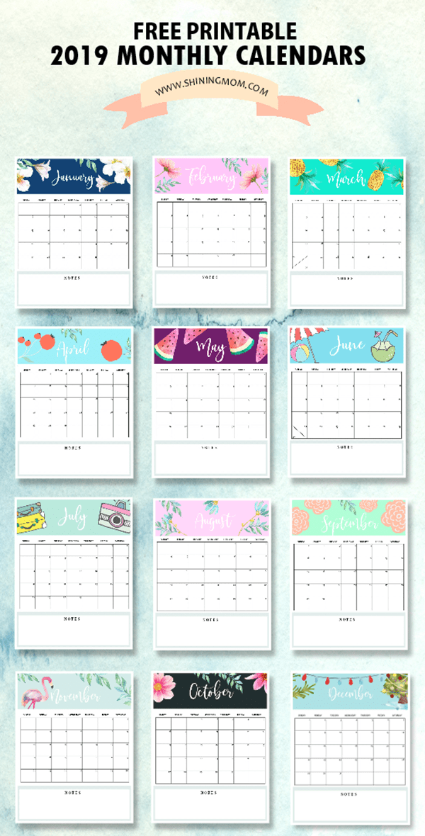 19 Free Printable 2019 Calendars - The Suburban Mom