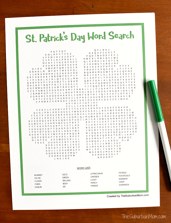 photo about St Patrick Day Puzzles Printable Free called St. Patricks Working day Phrase Seem Printable - The Suburban Mother