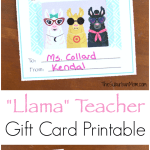 Llama Teacher Gift Card Printable