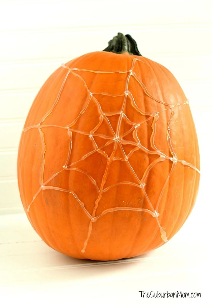 Hot Glue Spider Web Pumpkin