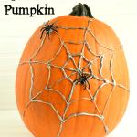 No Carve Hot Glue Spider Web Pumpkin