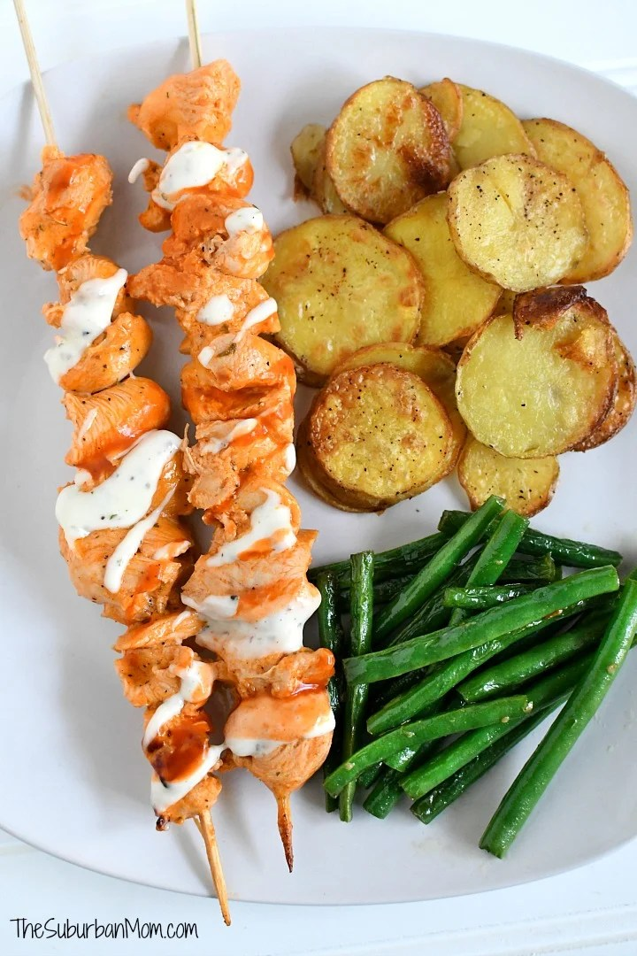 Grilled Buffalo Ranch Chicken Kabobs