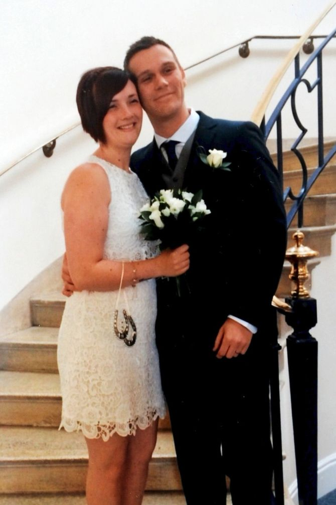 Wedding day ... Louise with  husband Martyn Cook