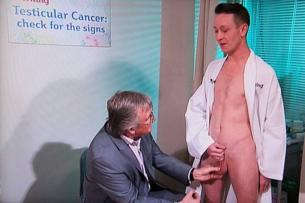 Naked model undergoes testicle examination live on This