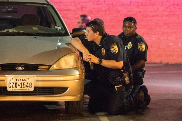 Officers and members of the public alike were forced to take cover from the shootings