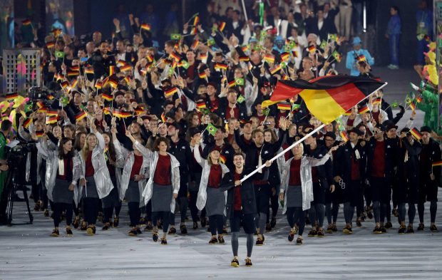 The German team make their way into the Maracana