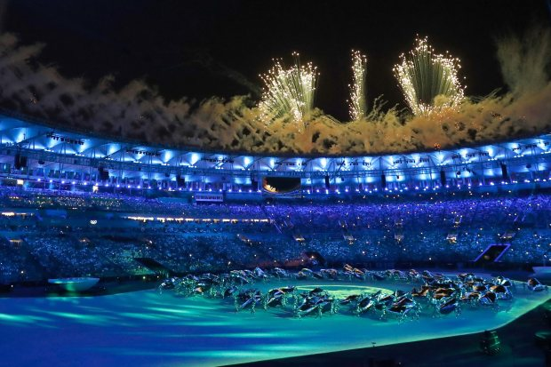 """A firework display spelt out the word """"Rio"""" during the ceremony"""