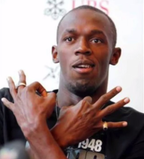 Usain is making the 'sign of the Beast' according to theorists