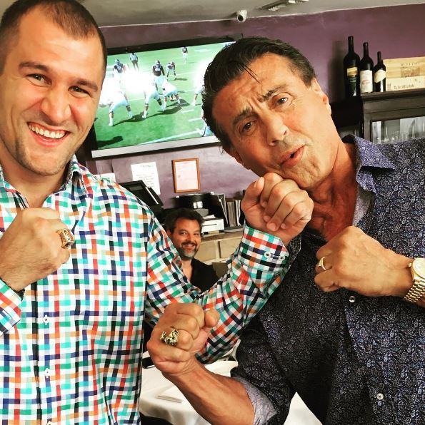 Sly posed for a picture with boxer pal Sergey Kovalev
