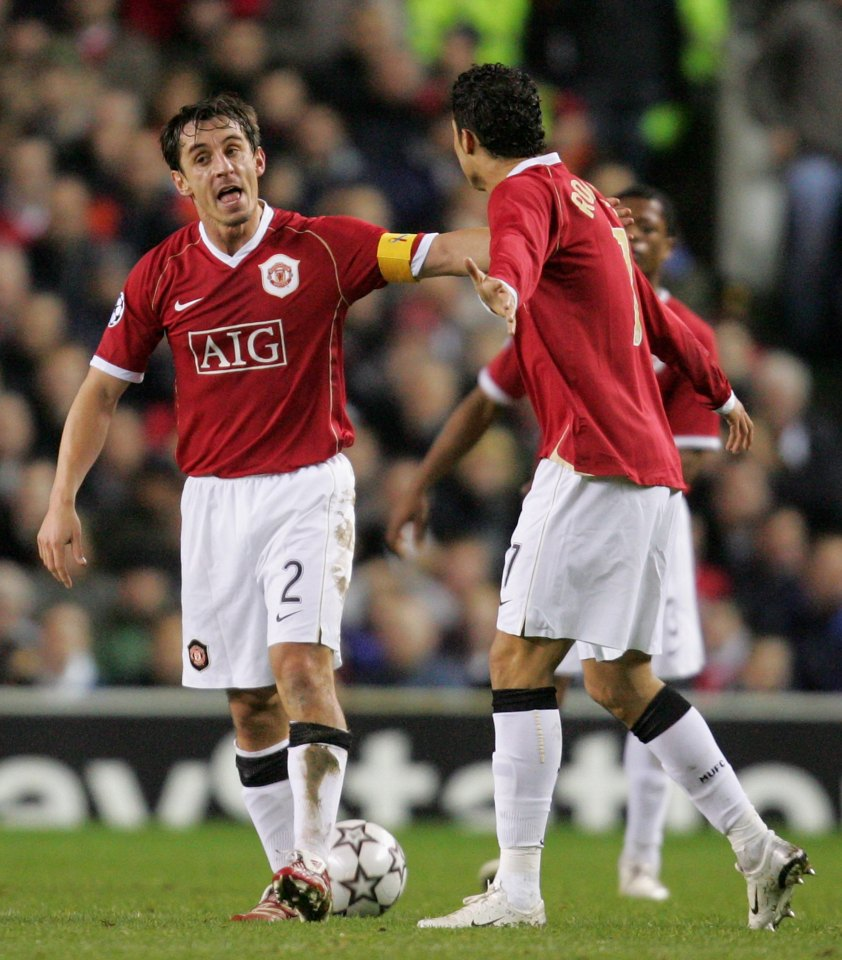 MANCHESTER, ENGLAND - DECEMBER 6: Gary Neville of Manchester United berates teammate Cristiano Ronaldo during the UEFA Champions League match between Manchester United and Benfica at Old Trafford on December 6 2006 in Manchester, England. (Photo by John Peters/Manchester United via Getty Images)
