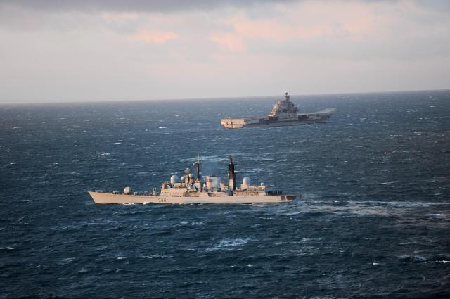 It is not the first time the Royal Navy has been called into action to escort on of the ships. HMS York shadows the Admiral Kuznetsov here in 2011