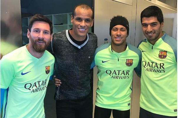 Rivaldo meets Barcelona stars Messi Neymar and Suarez